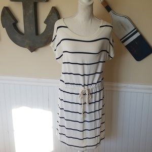 White and navy summed J. Crew Dress